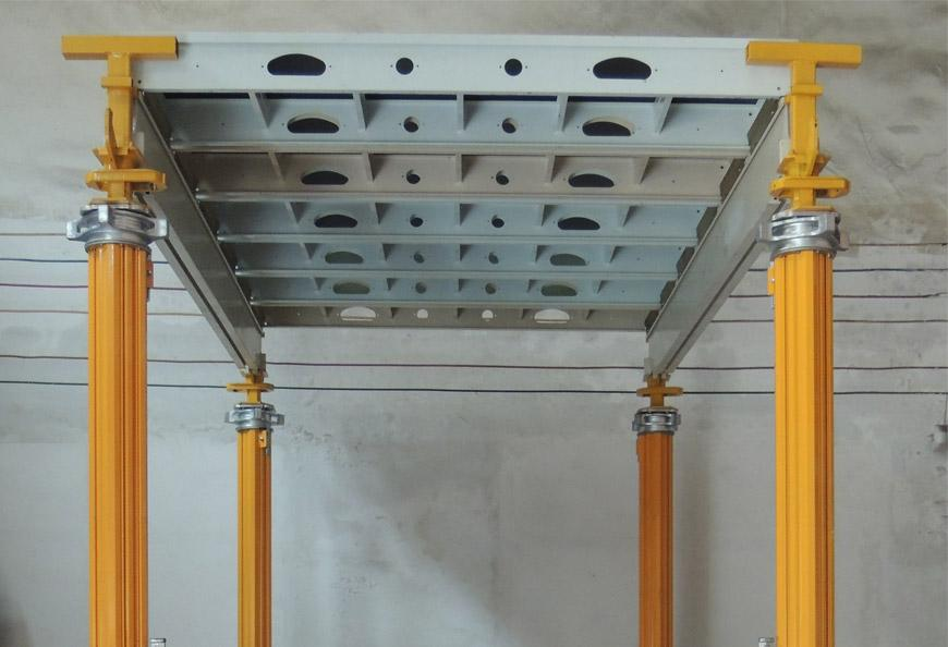 Tecon Aludeck Slab Formwork is Consisted by Five Components,  Aluminum Panel, Main Beam, Early Stripping Head, Tmp Aluminium Prop and Truss Frame Bracing