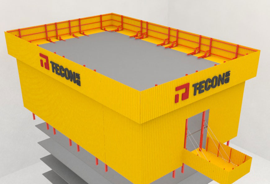 TECON Protection screen provides fully covered protection with multi-platforms inside for site crew