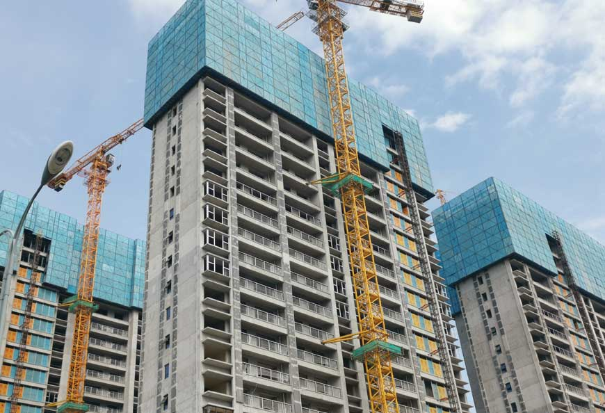 TECON Self-climbing Platform SCP is widely used in high rise residential or commercial buildings for facade protection